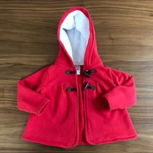 RED Cotton Sherpa Hooded Jacket w/ Toggle Buttons
